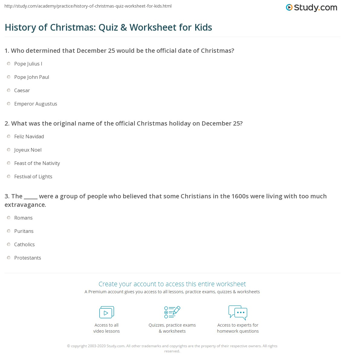 History Of Christmas Quiz Amp Worksheet For Kids