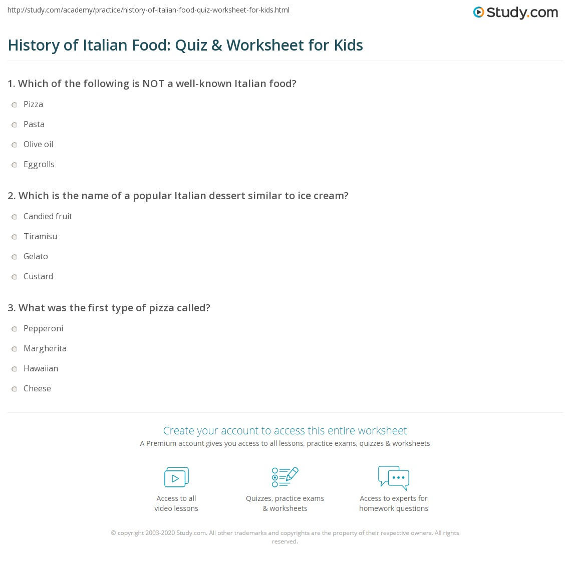 History Of Italian Food Quiz Amp Worksheet For Kids