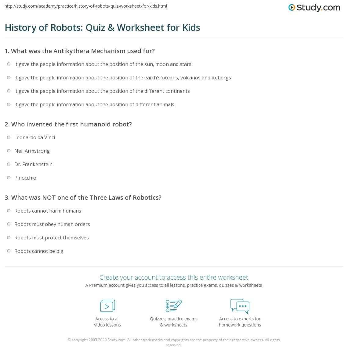 History Of Robots Quiz Amp Worksheet For Kids
