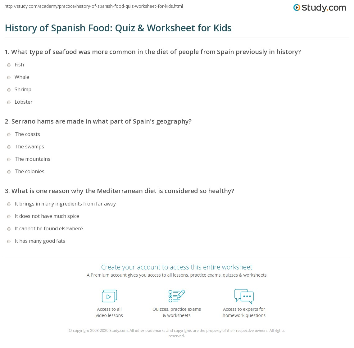 History Of Spanish Food Quiz Amp Worksheet For Kids