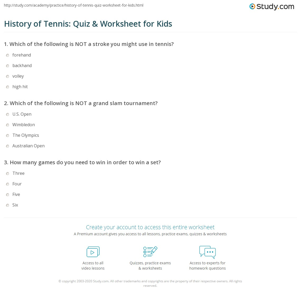 History Of Tennis Quiz Amp Worksheet For Kids