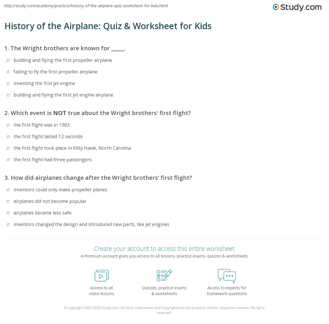 History Of The Airplane Quiz Amp Worksheet For Kids