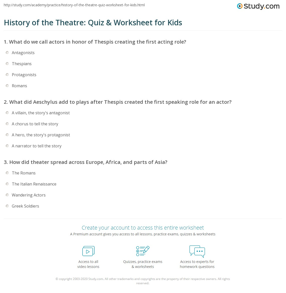 History Of The Theatre Quiz Amp Worksheet For Kids