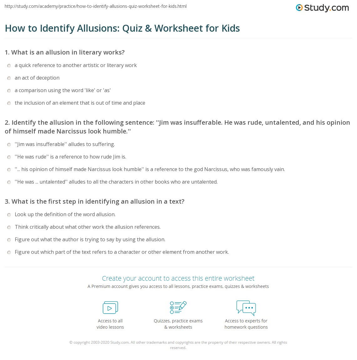 How To Identify Allusions Quiz Amp Worksheet For Kids