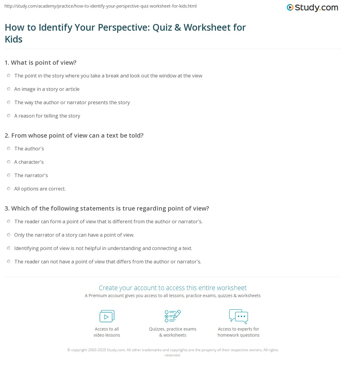 How To Identify Your Perspective Quiz Amp Worksheet For