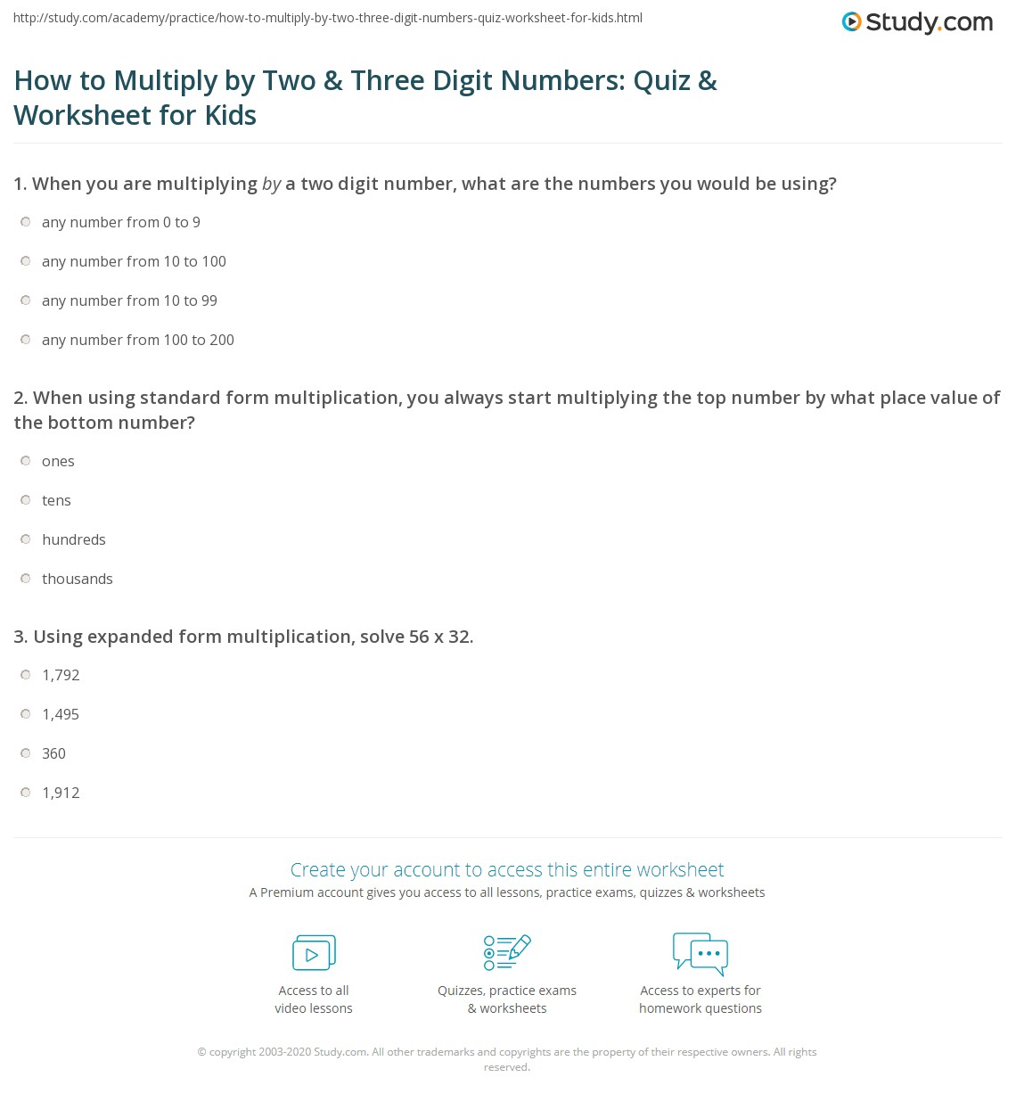 How To Multiply By Two Amp Three Digit Numbers Quiz