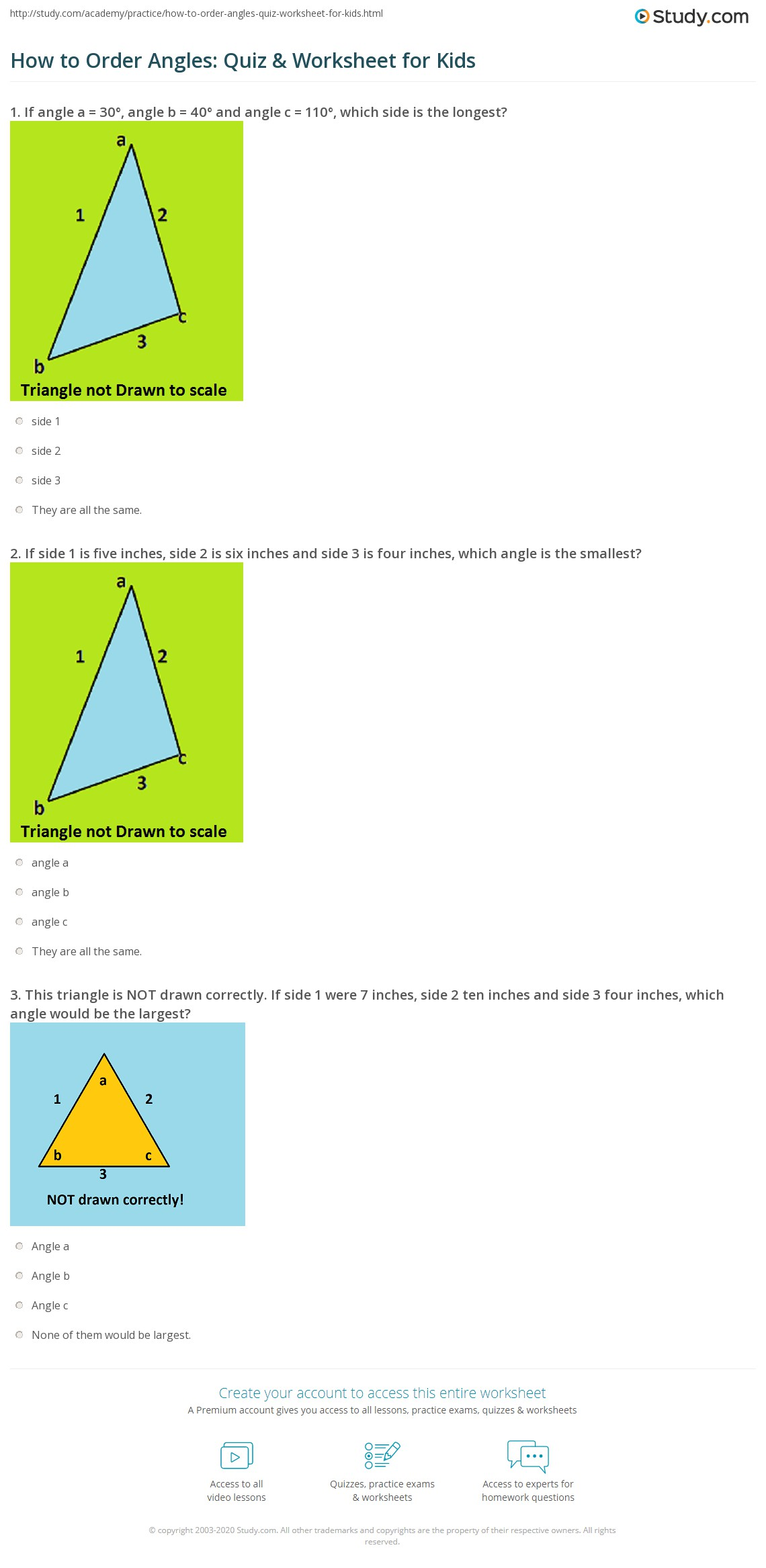 How To Order Angles Quiz Amp Worksheet For Kids