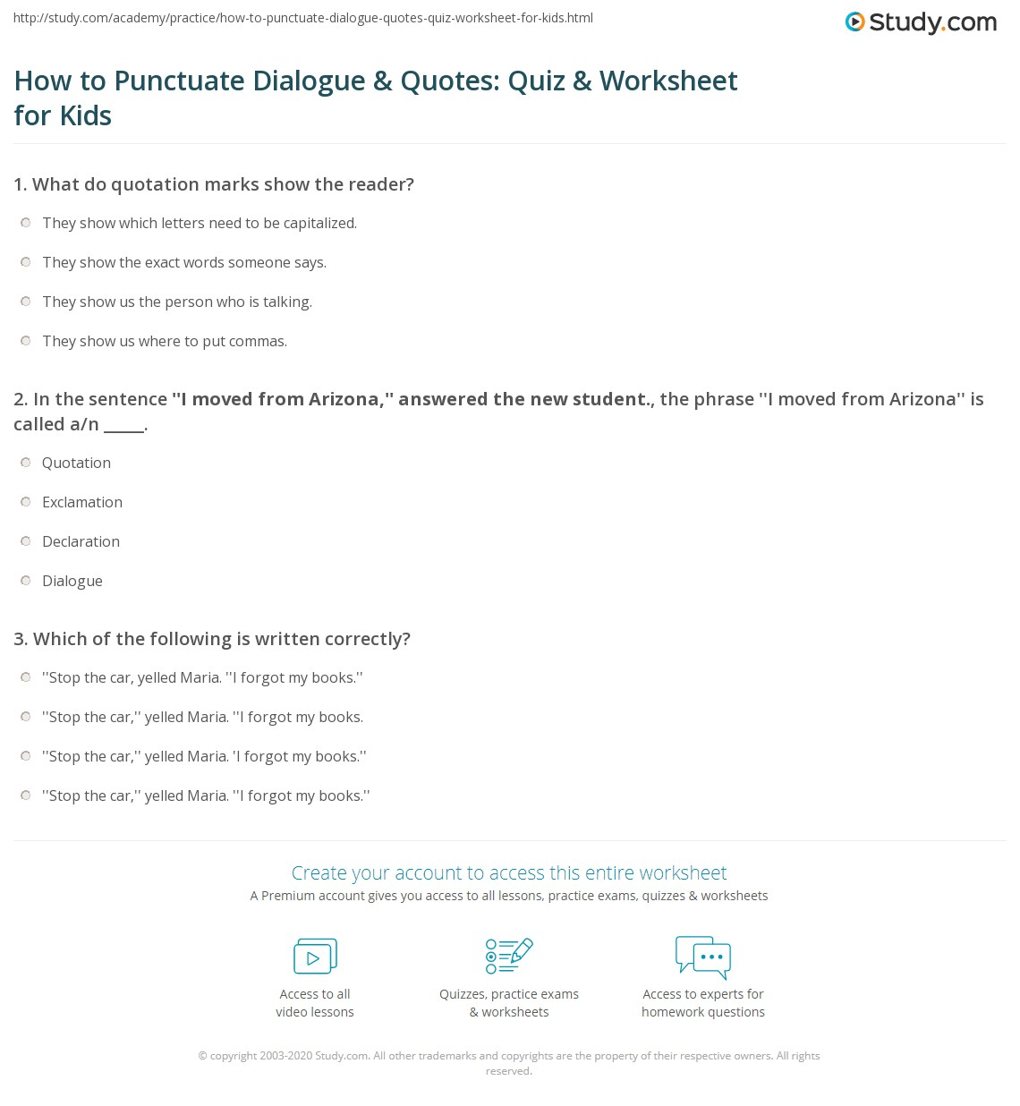 How To Punctuate Dialogue Amp Quotes Quiz Amp Worksheet For Kids