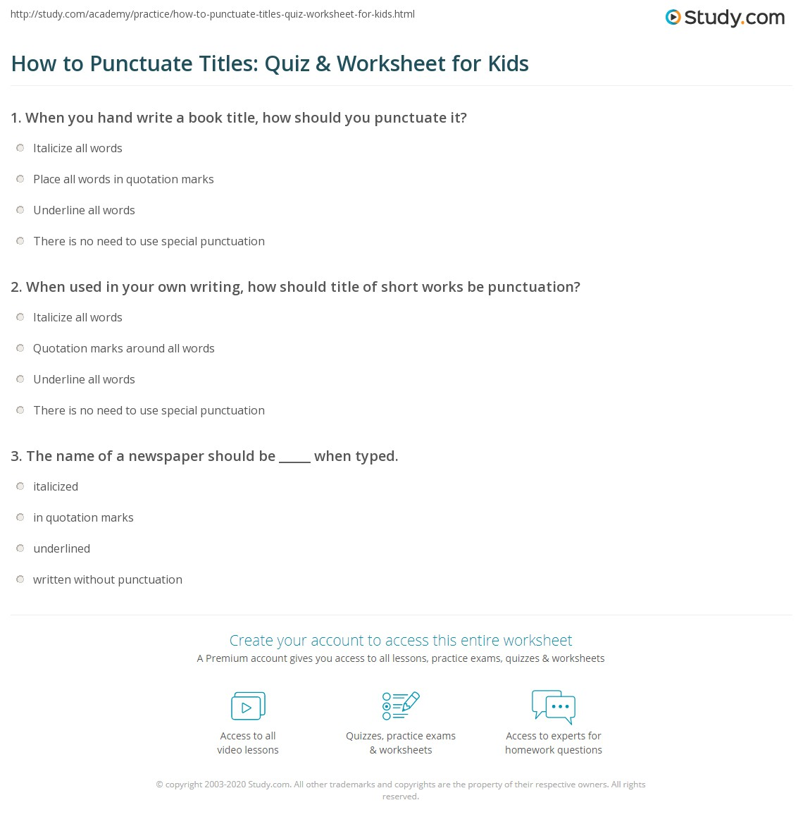 How To Punctuate Titles Quiz Amp Worksheet For Kids