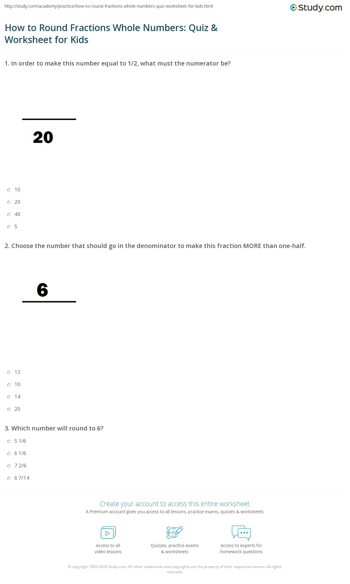 How To Round Fractions Whole Numbers Quiz Amp Worksheet For Kids