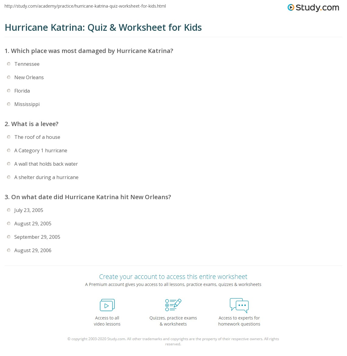 Hurricane Katrina Quiz Amp Worksheet For Kids