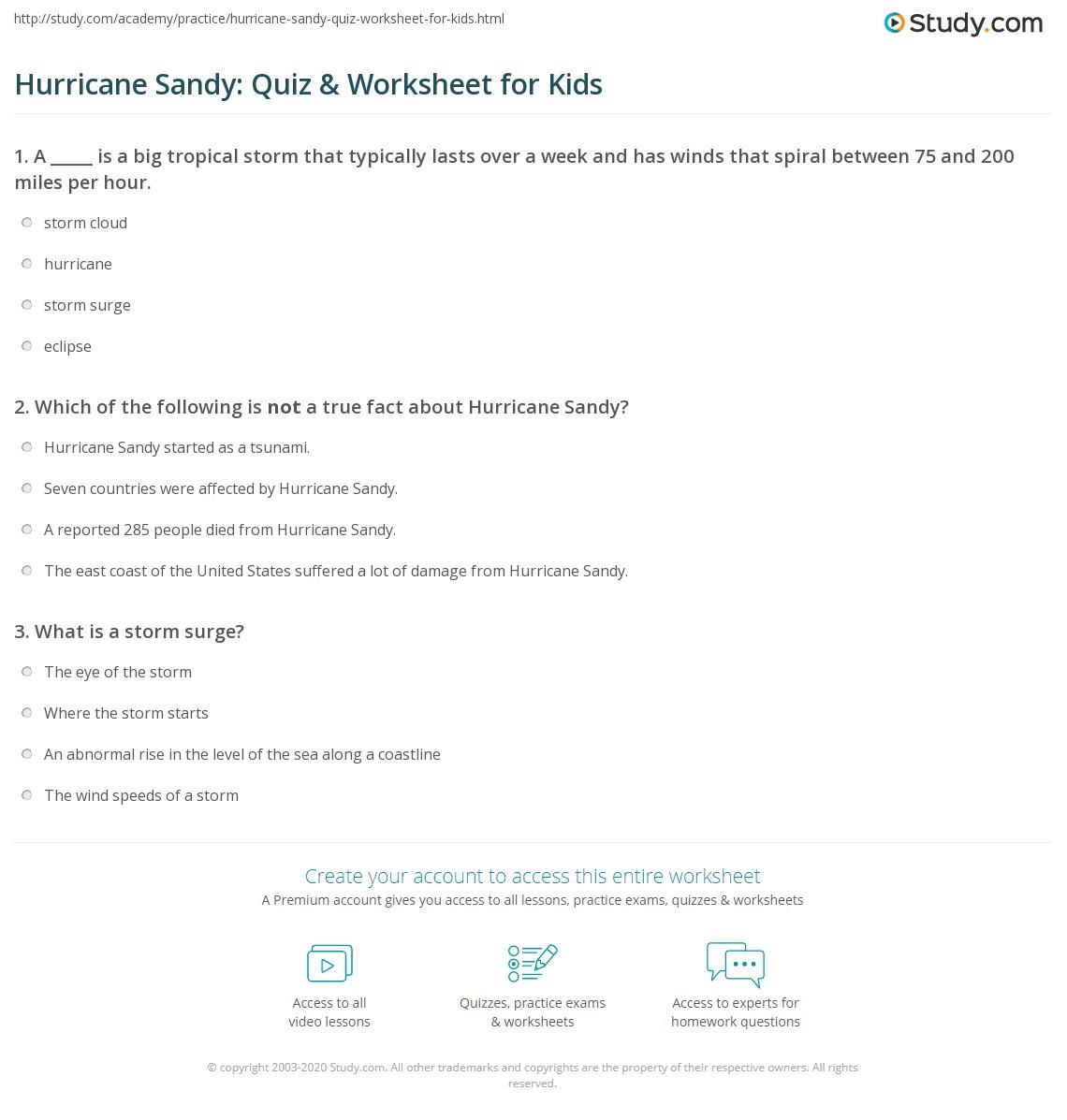 Hurricane Sandy Quiz Amp Worksheet For Kids