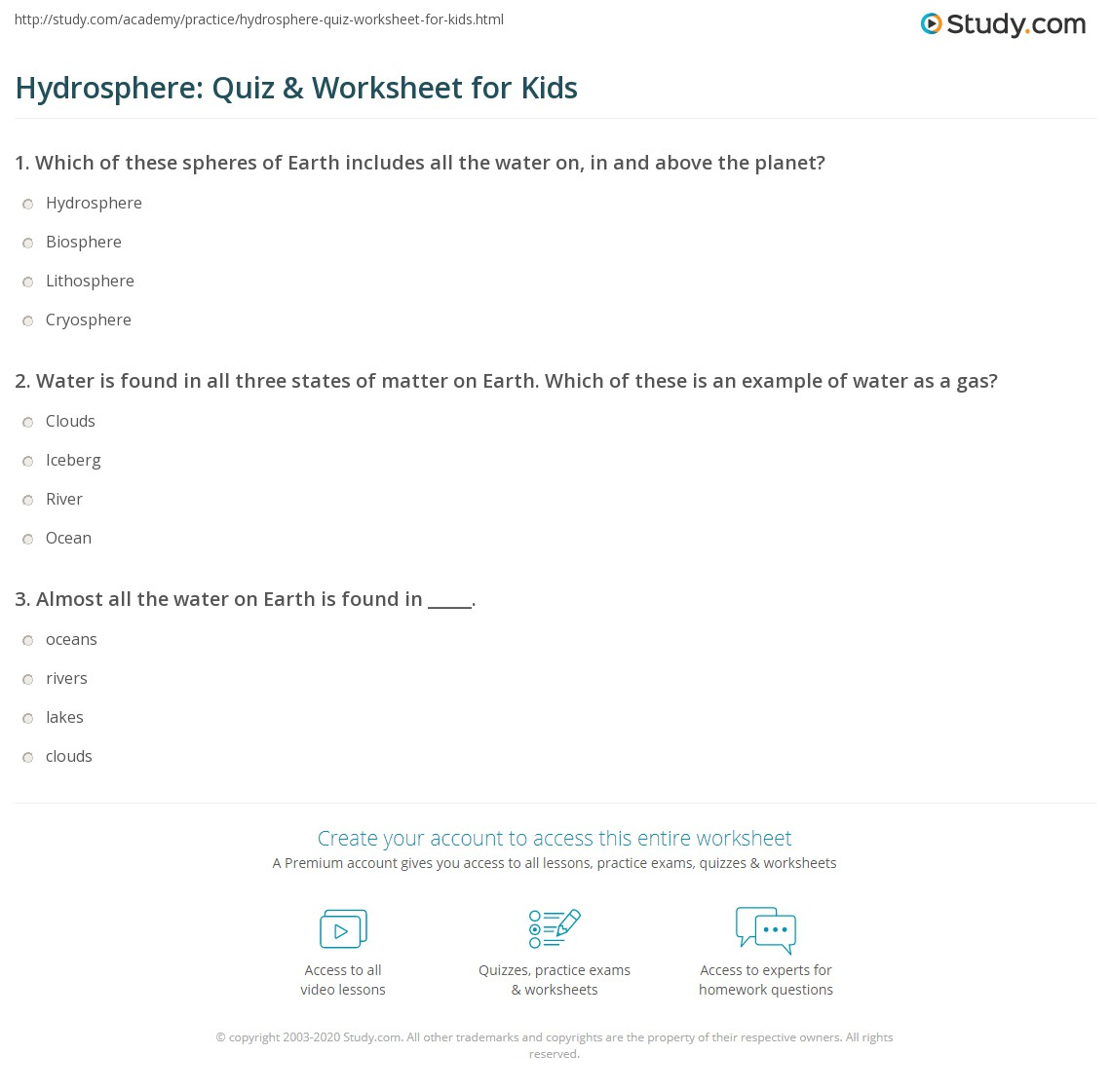 Hydrosphere Quiz Amp Worksheet For Kids