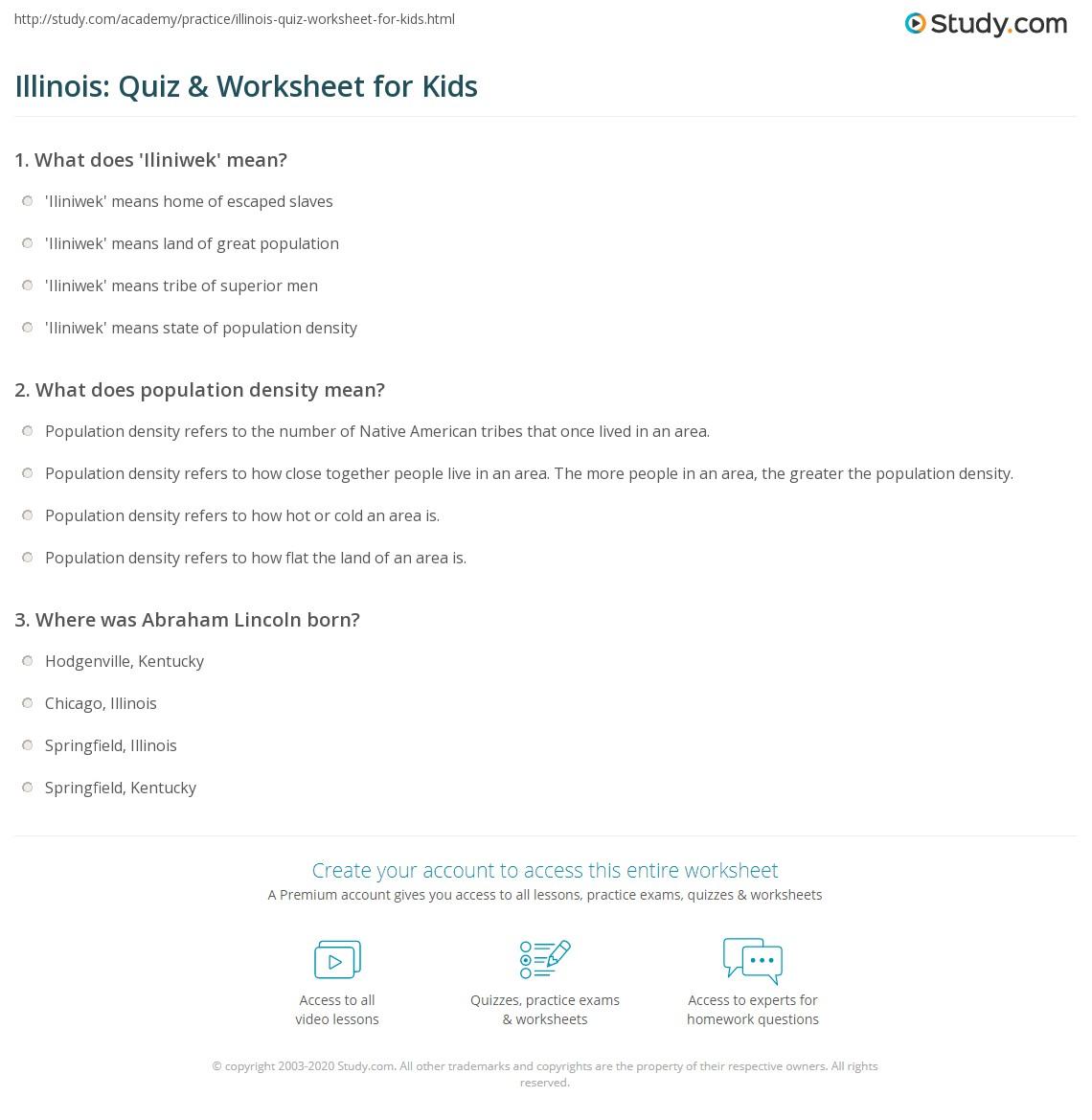 Illinois Quiz Amp Worksheet For Kids