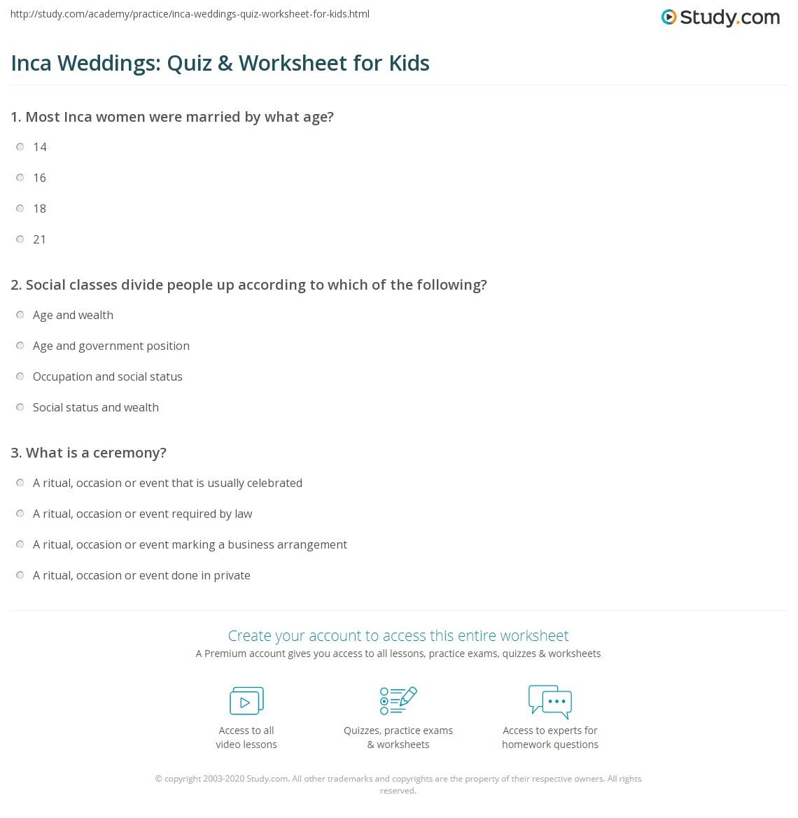 Inca Weddings Quiz Amp Worksheet For Kids
