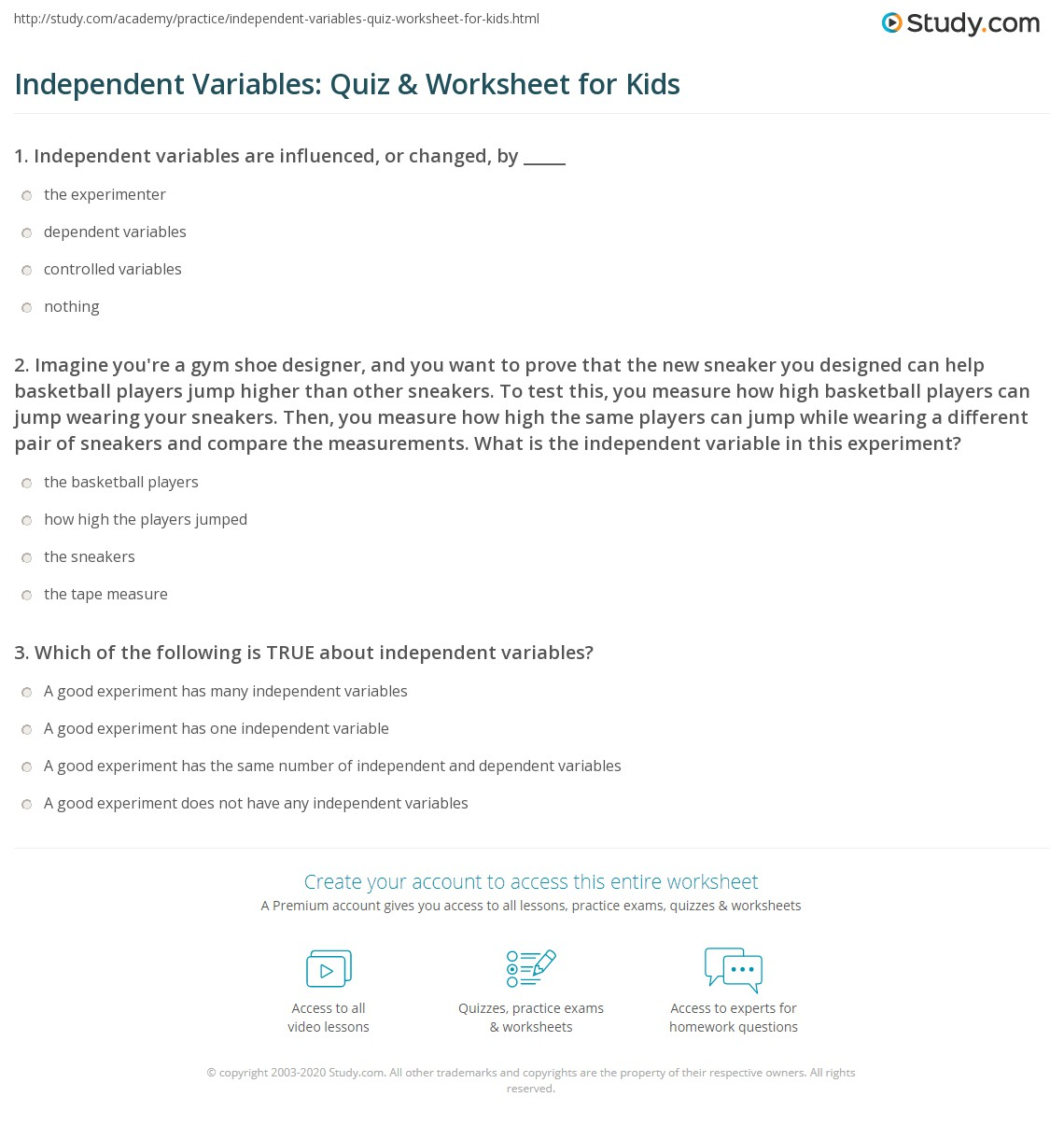 Independent Variables Quiz Amp Worksheet For Kids