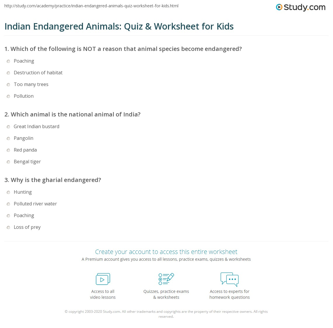 Indian Endangered Animals Quiz Amp Worksheet For Kids