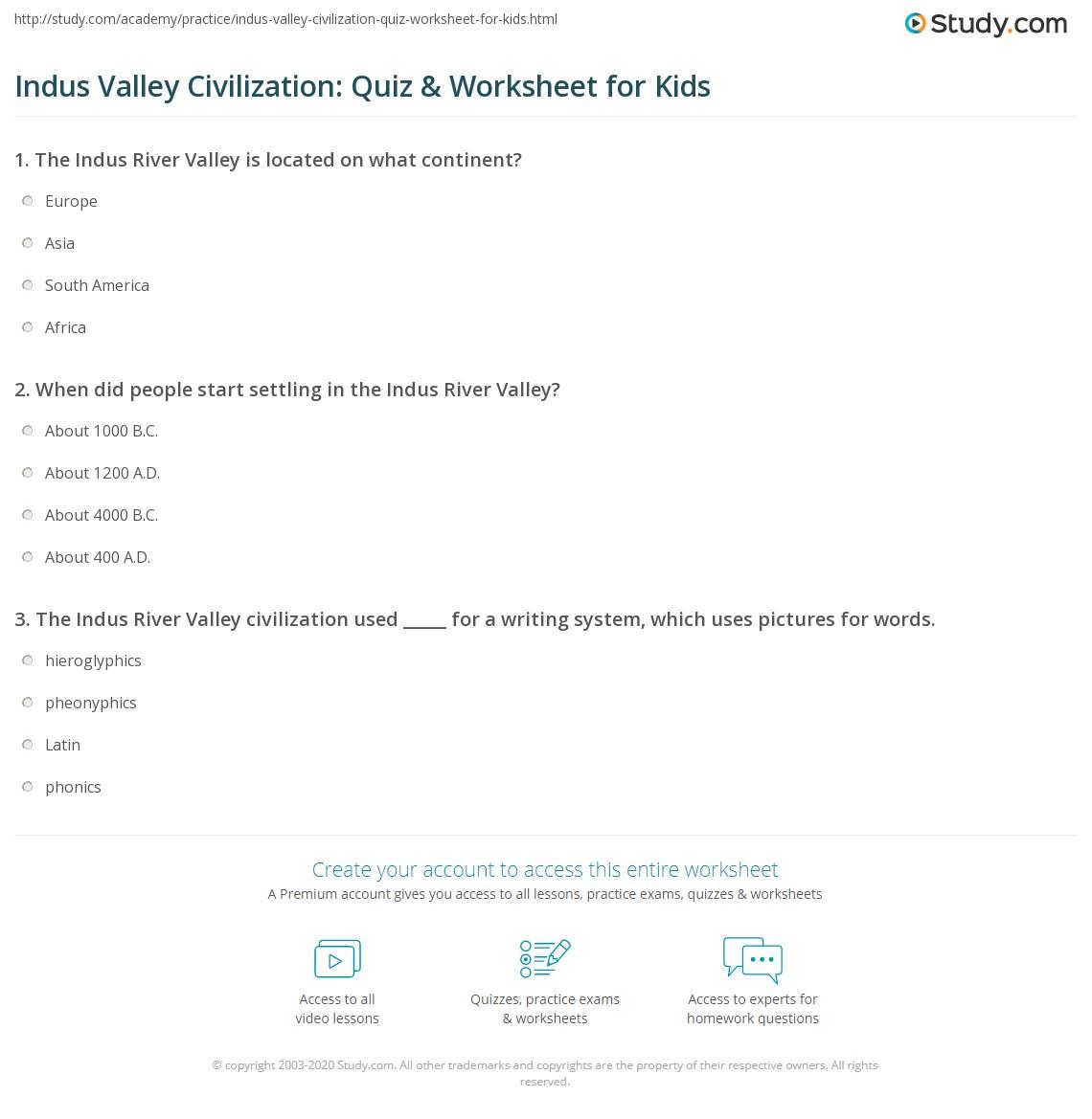 Indus Valley Civilization Quiz Amp Worksheet For Kids