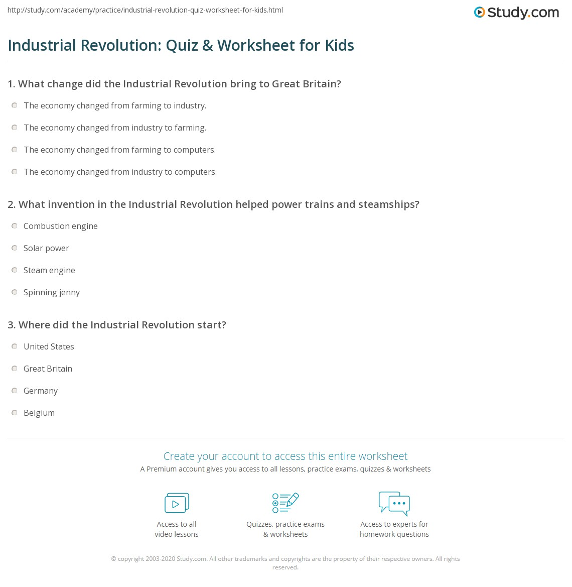 Industrial Revolution Quiz Amp Worksheet For Kids