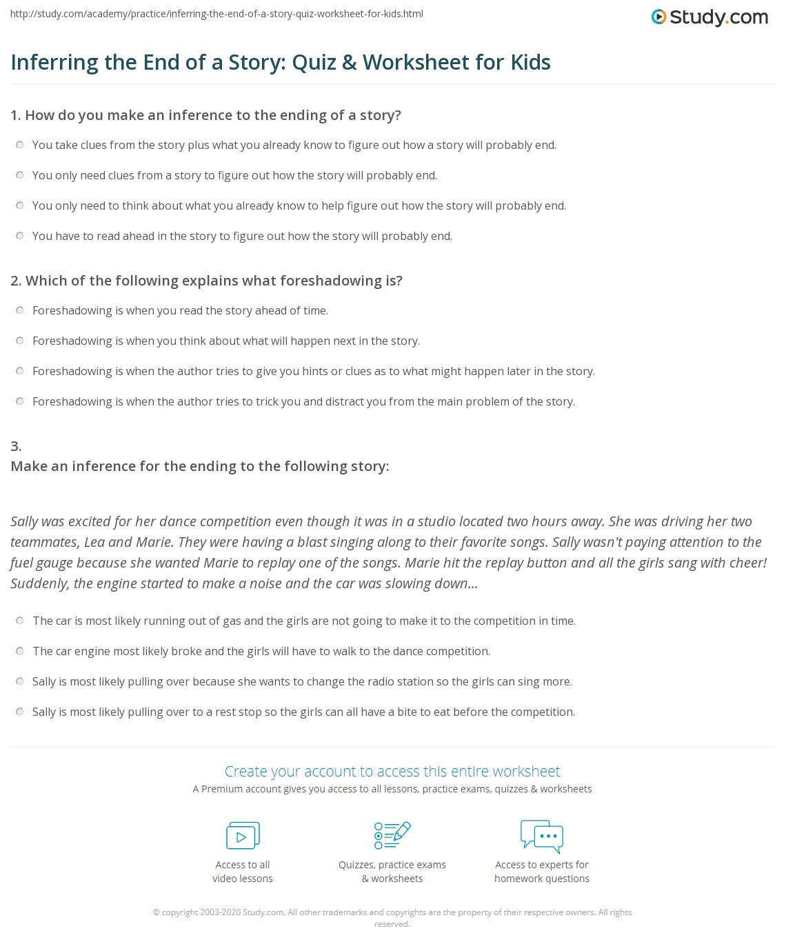 Inferring The End Of A Story Quiz Amp Worksheet For Kids