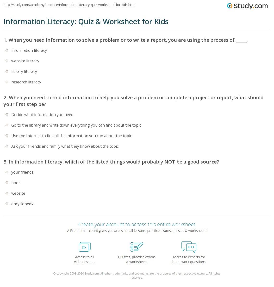 Information Literacy Quiz Amp Worksheet For Kids