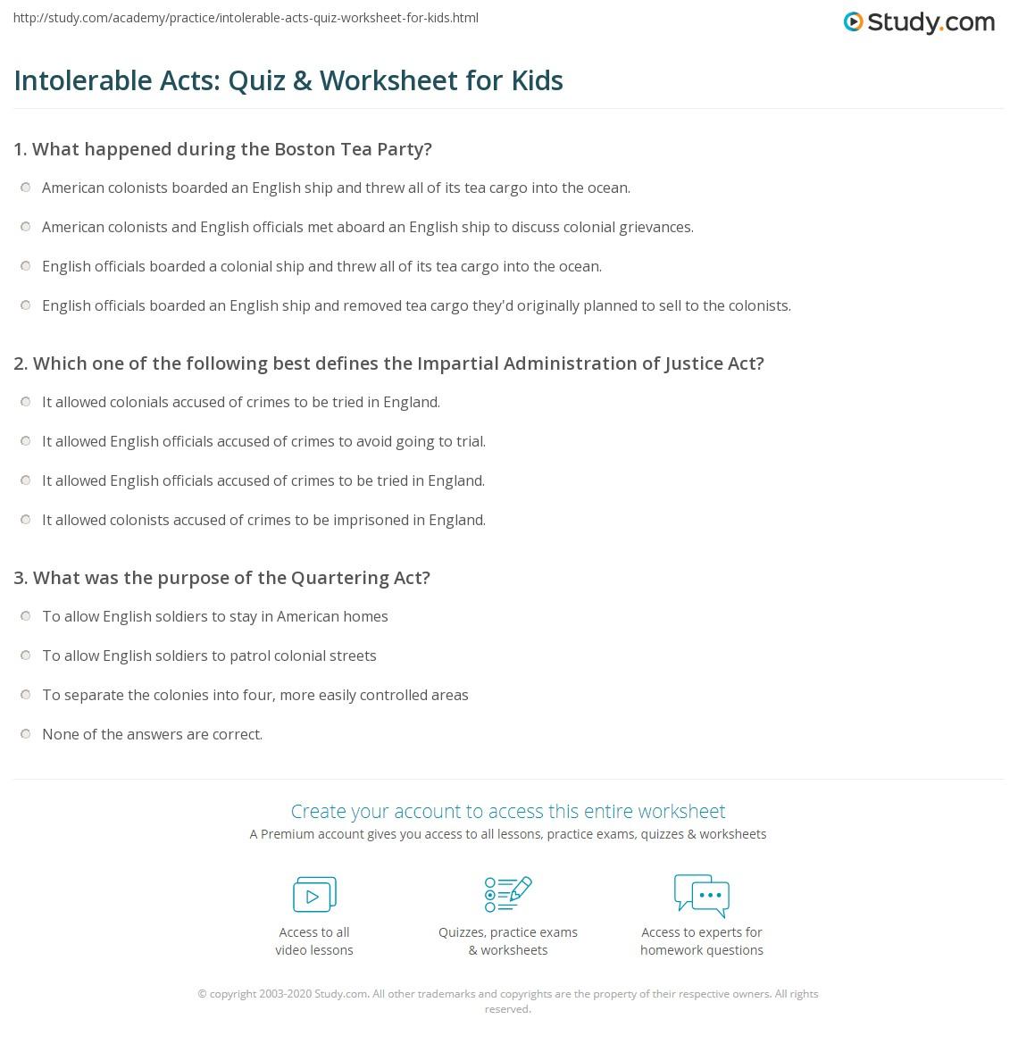 Intolerable Acts Quiz Amp Worksheet For Kids