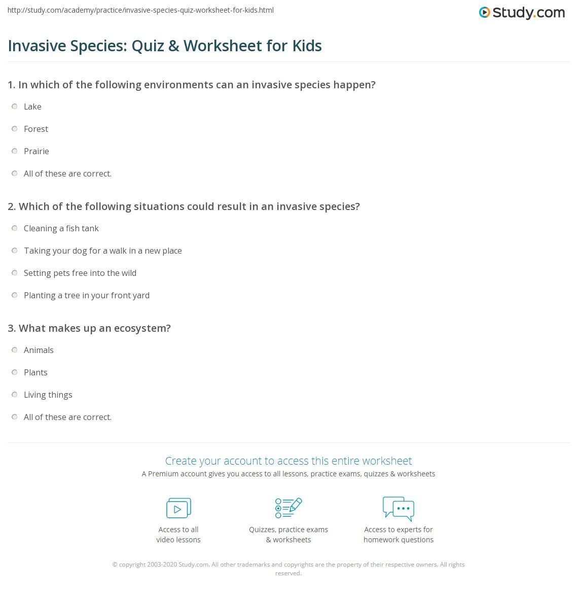 Invasive Species Quiz Amp Worksheet For Kids