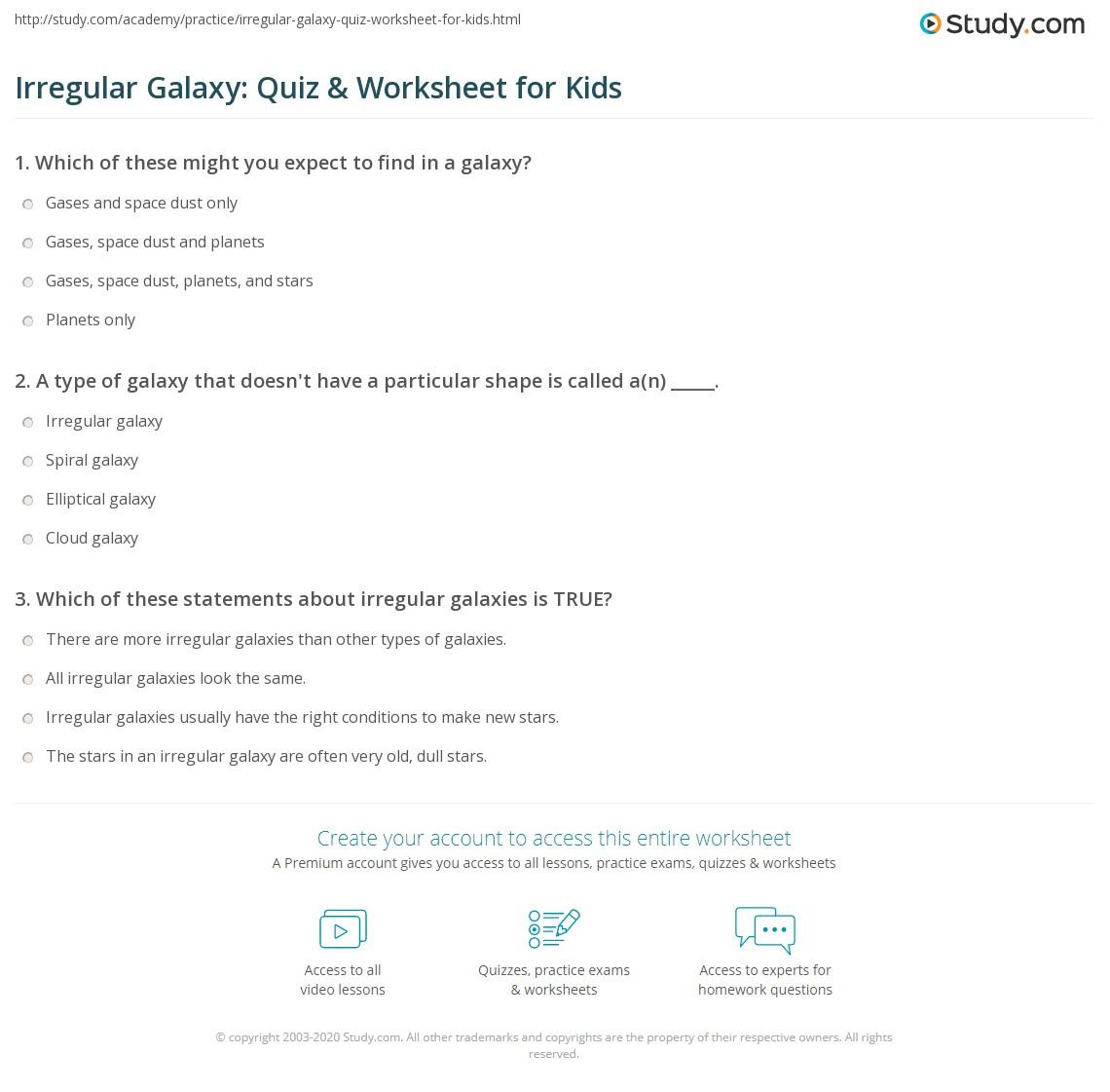 Irregular Galaxy Quiz Amp Worksheet For Kids