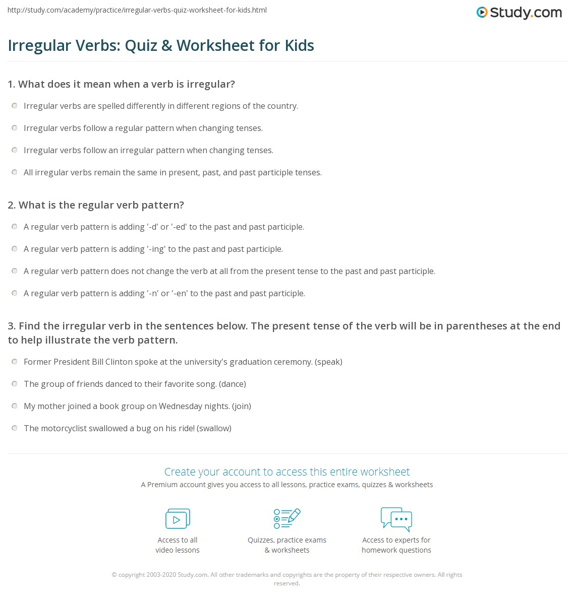 Irregular Verbs Quiz Amp Worksheet For Kids