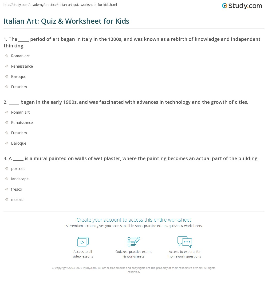 Italian Art Quiz Amp Worksheet For Kids