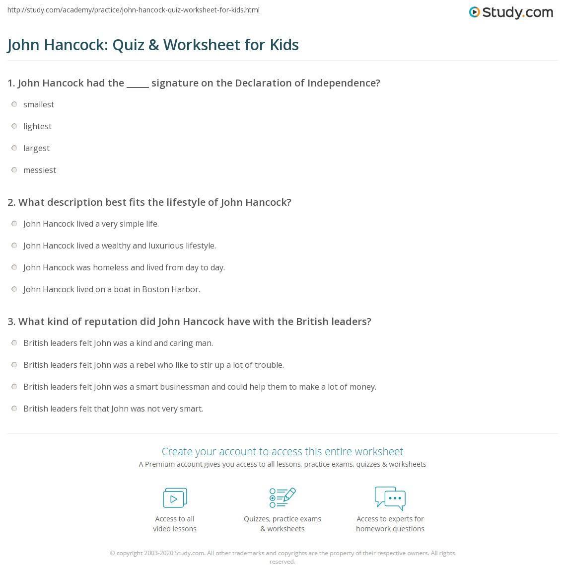 John Hancock Quiz Amp Worksheet For Kids