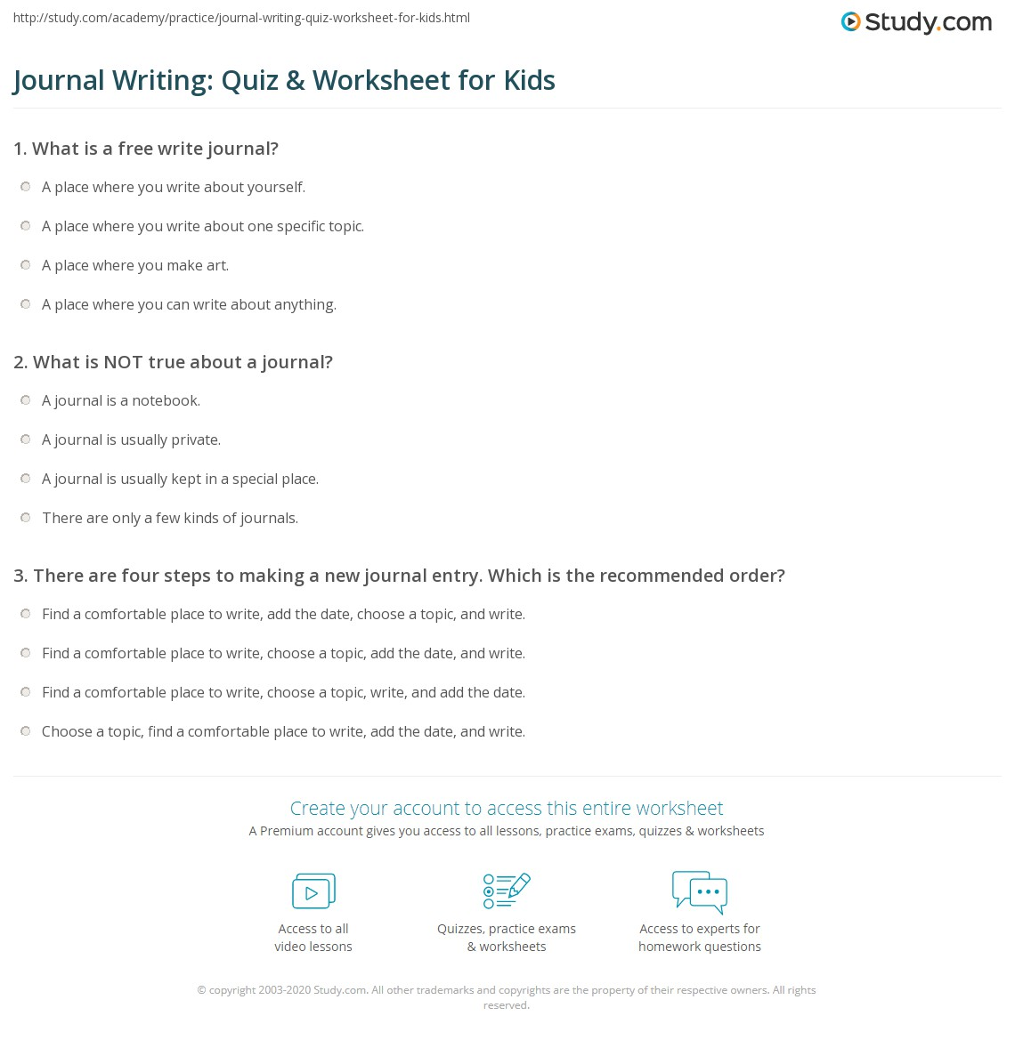 Journal Writing Quiz Amp Worksheet For Kids