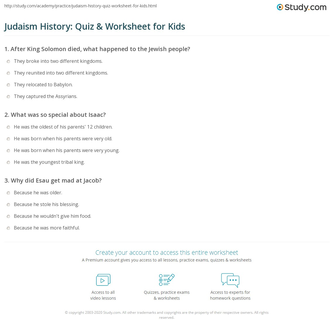 Judaism History Quiz Amp Worksheet For Kids
