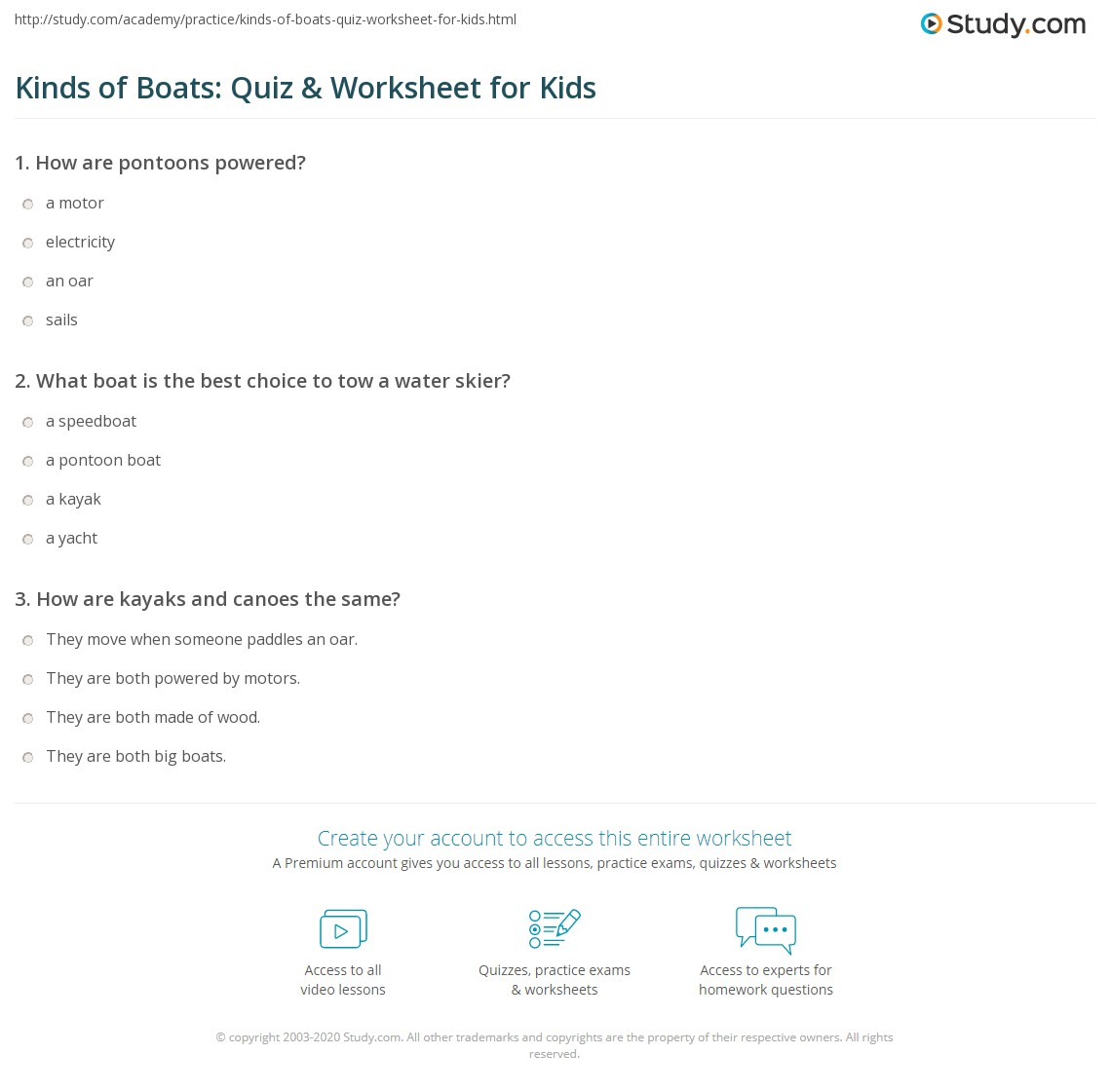 Kinds Of Boats Quiz Amp Worksheet For Kids