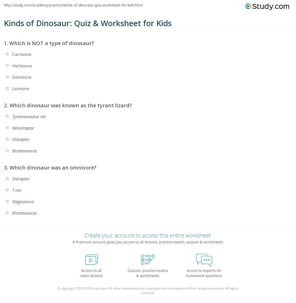 Kinds Of Dinosaur Quiz Amp Worksheet For Kids
