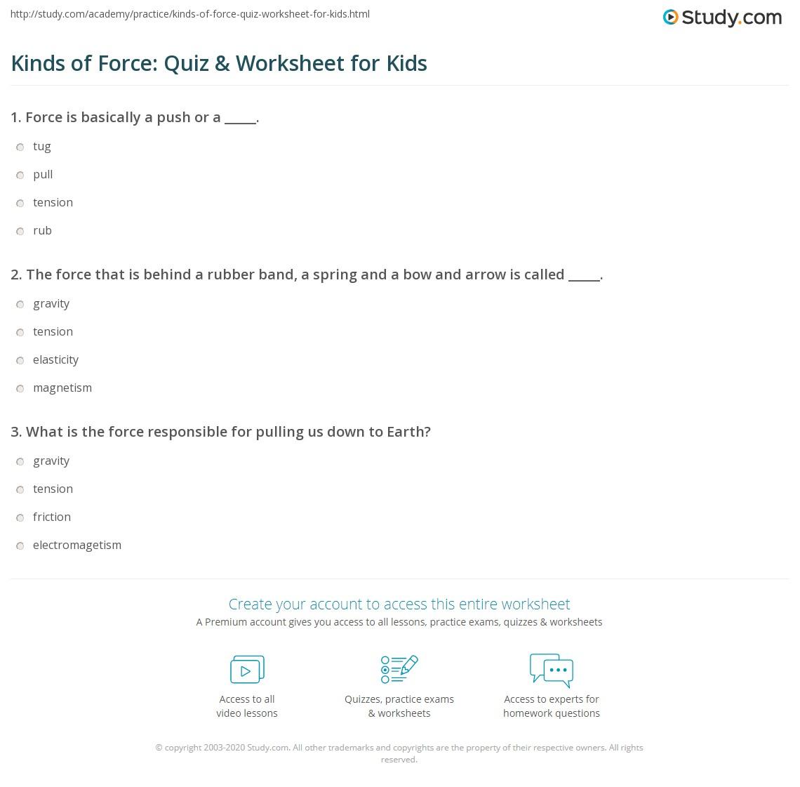 Kinds Of Force Quiz Amp Worksheet For Kids