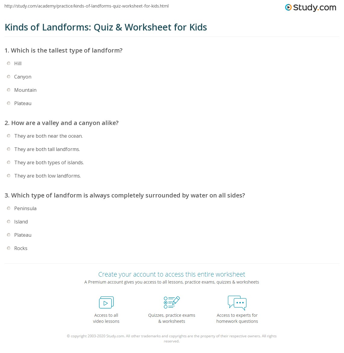 Kinds Of Landforms Quiz Amp Worksheet For Kids