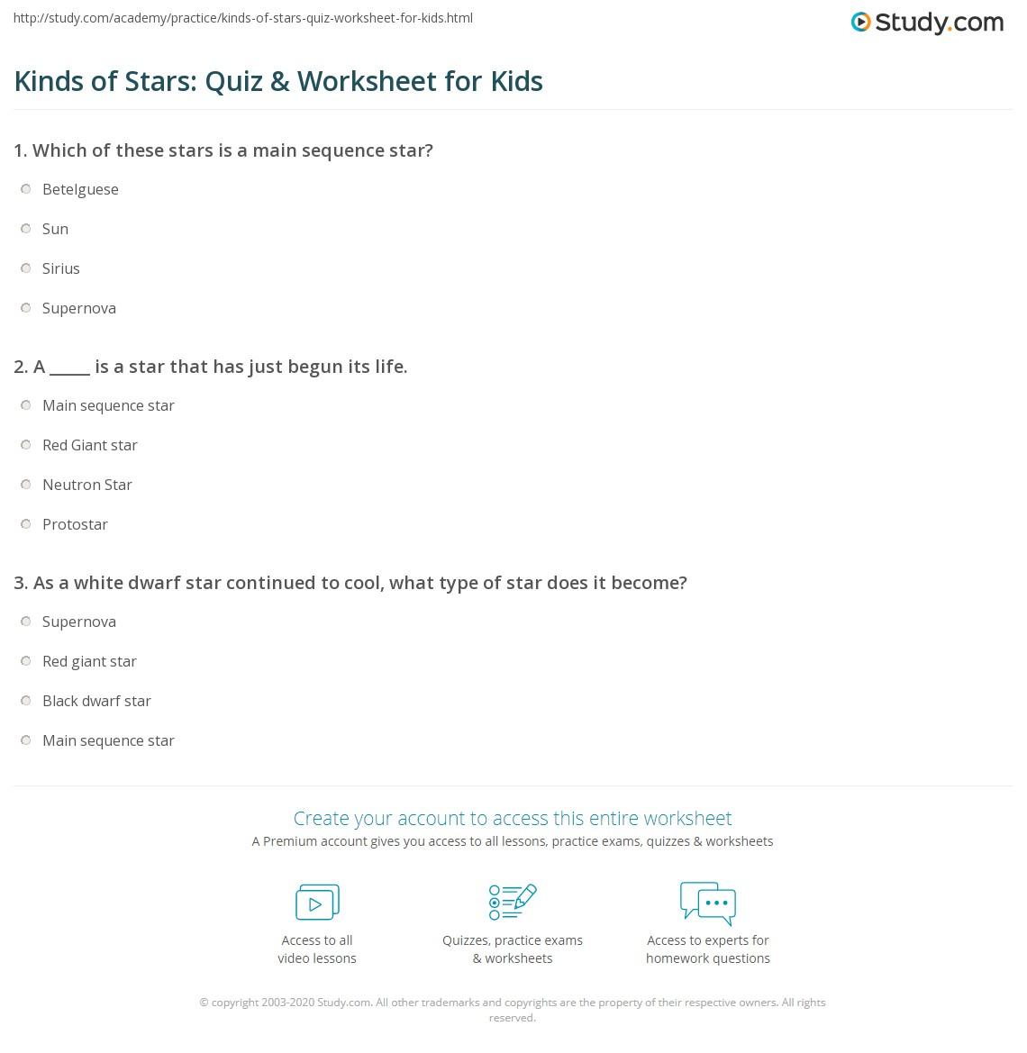 Kinds Of Stars Quiz Amp Worksheet For Kids