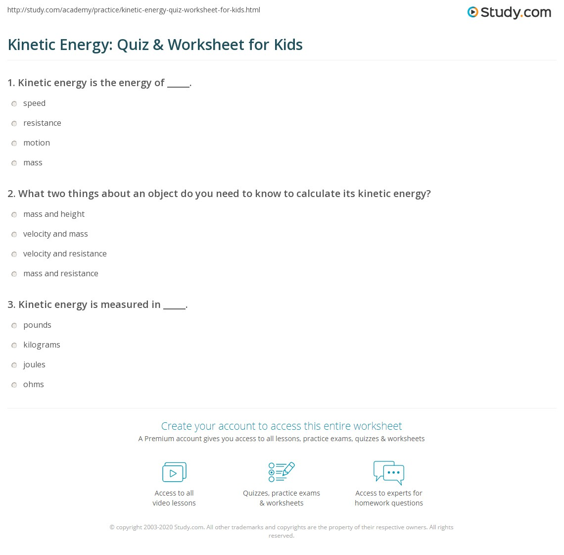 Kinetic Energy Quiz Amp Worksheet For Kids