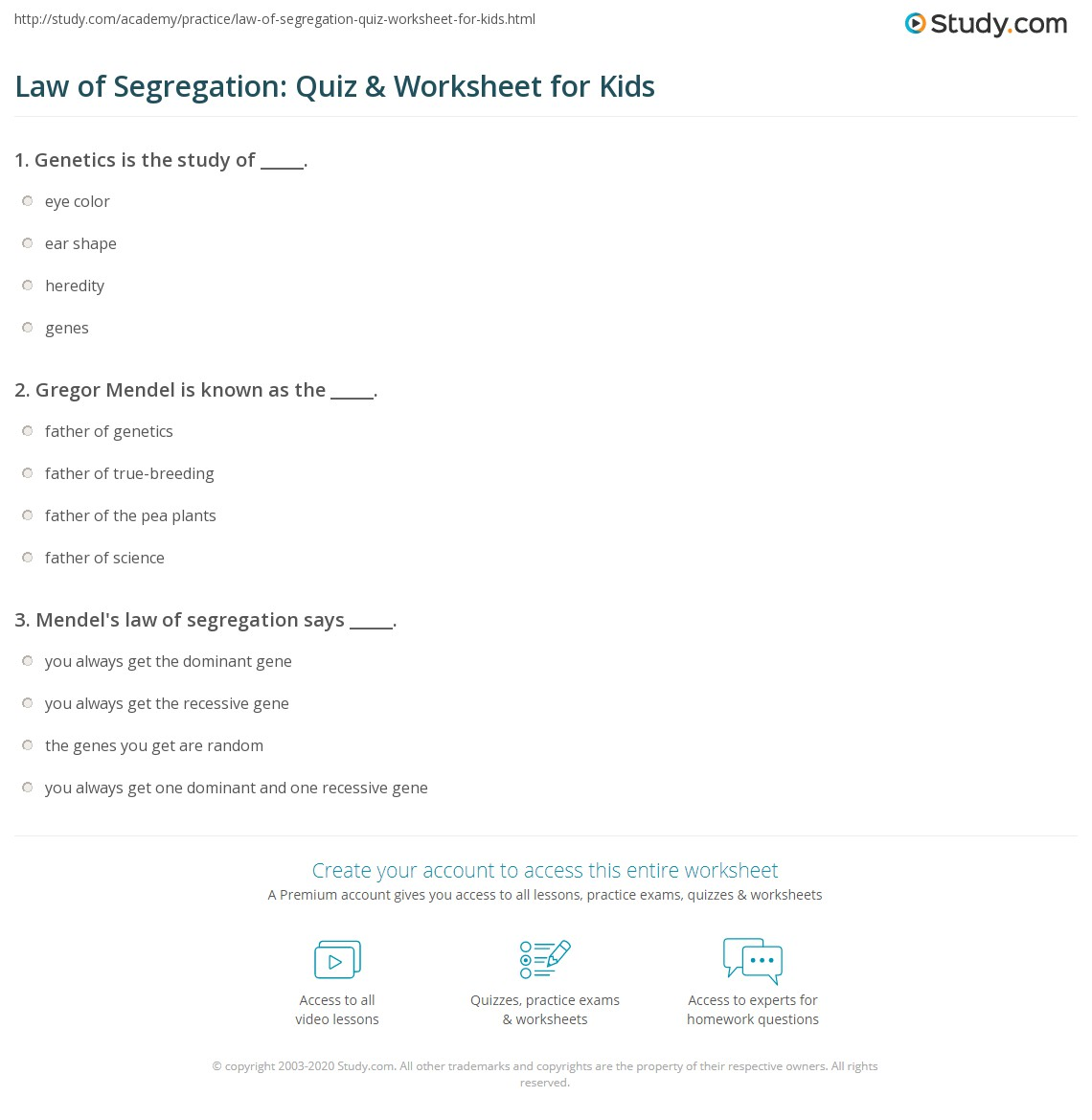 Law Of Segregation Quiz Amp Worksheet For Kids