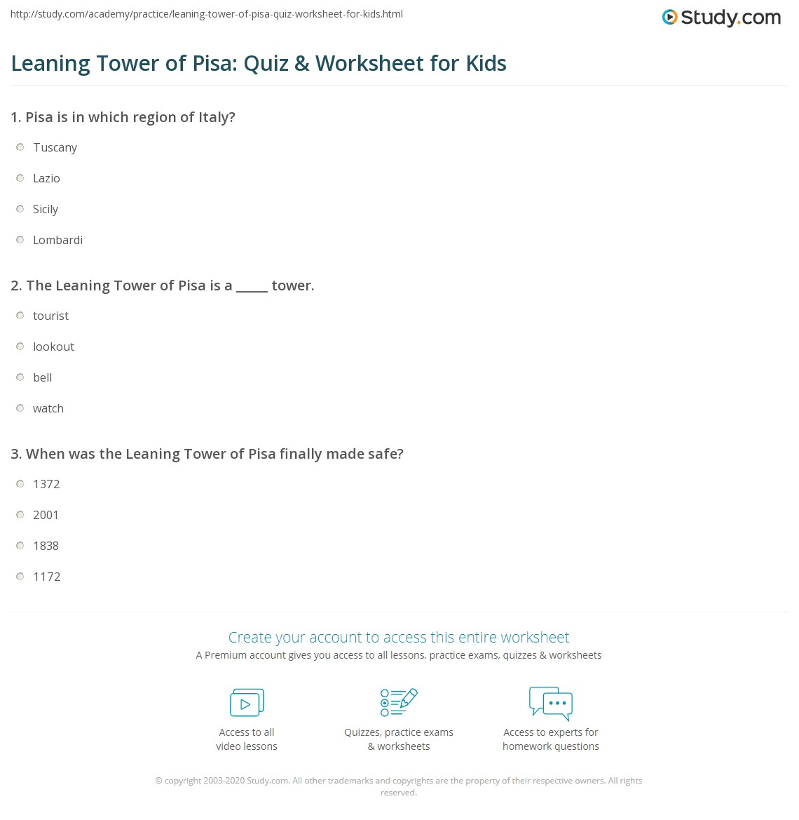 Leaning Tower Of Pisa Quiz Amp Worksheet For Kids