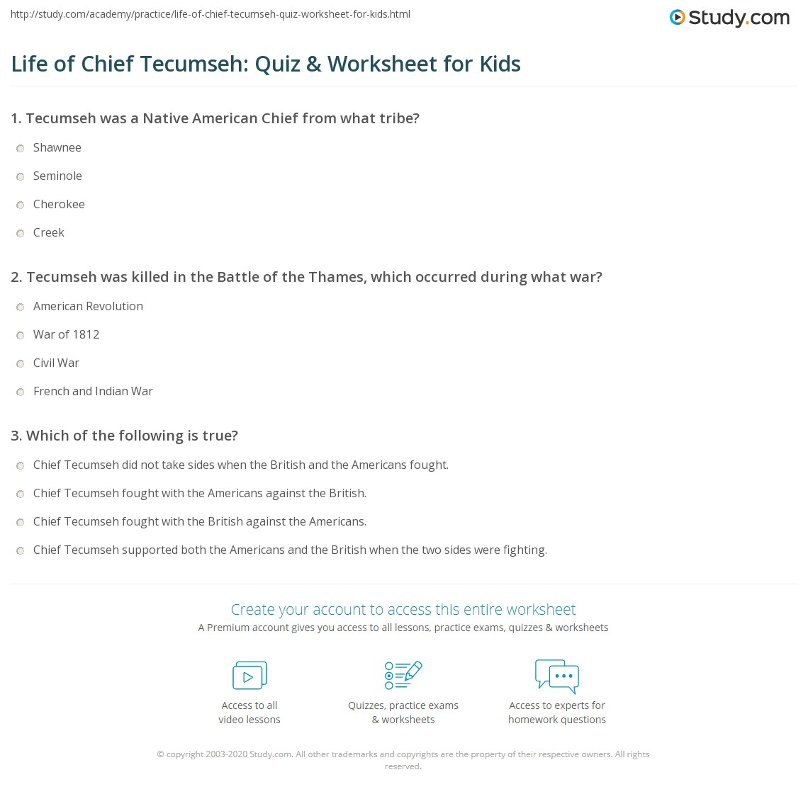 Life Of Chief Tecumseh Quiz Amp Worksheet For Kids