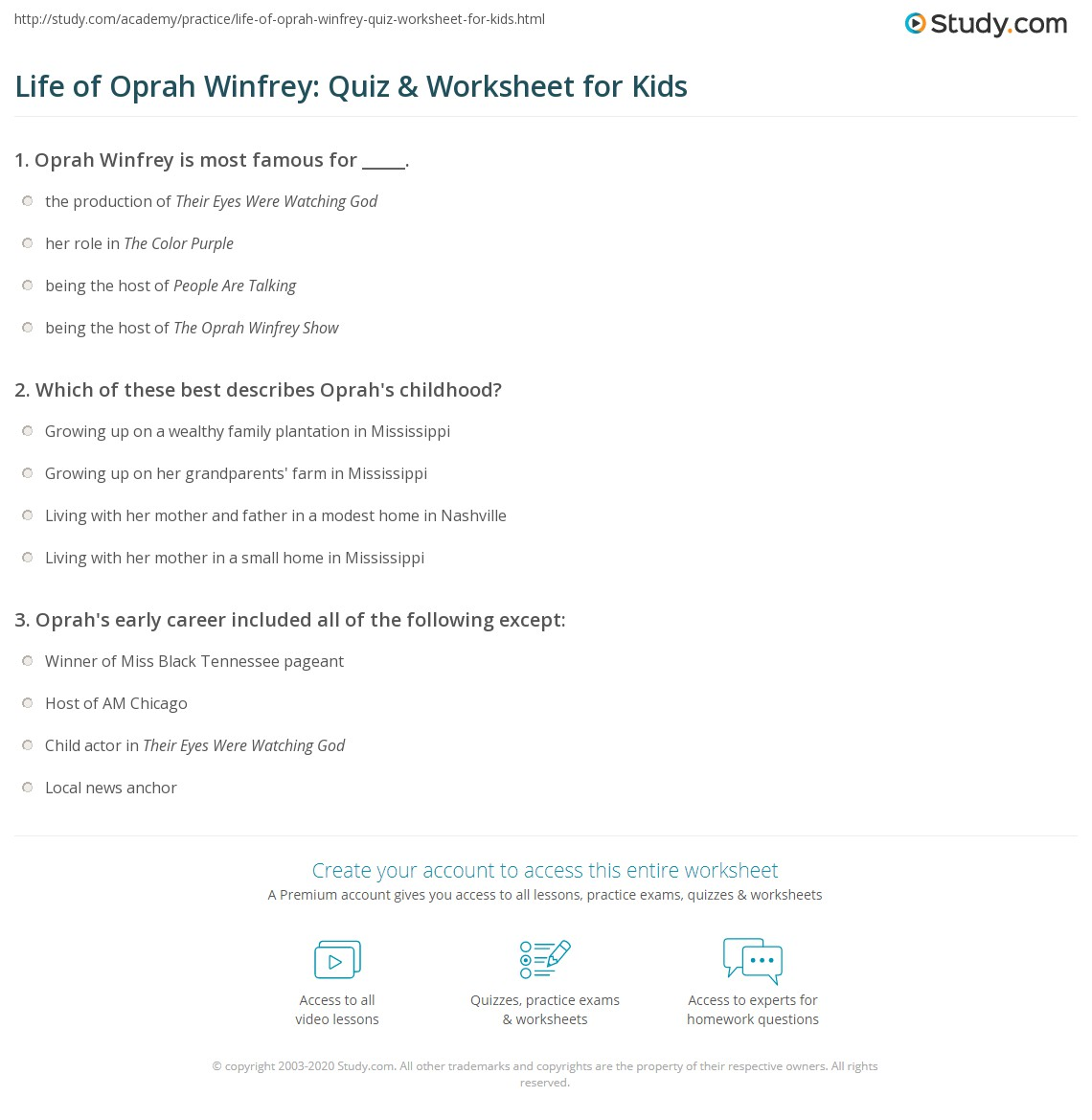 Life Of Oprah Winfrey Quiz Amp Worksheet For Kids
