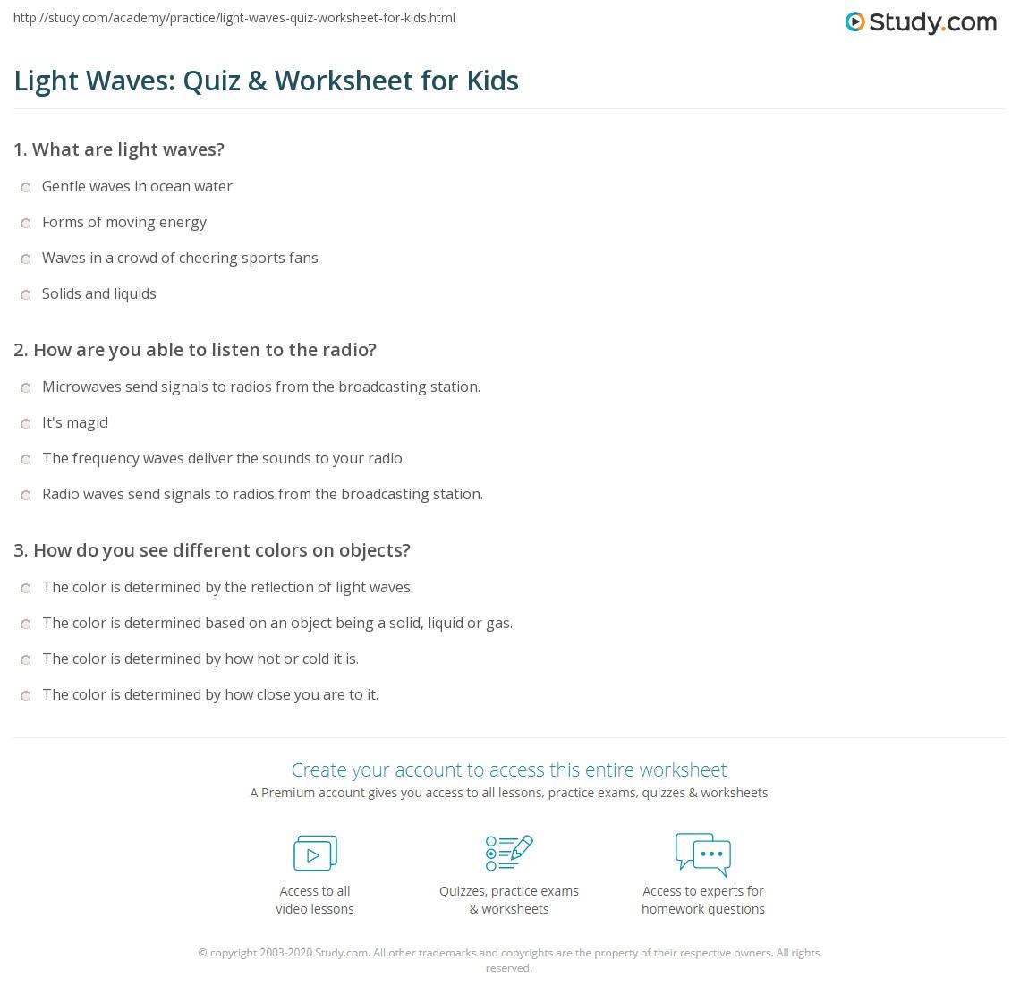 Light Waves Quiz Amp Worksheet For Kids