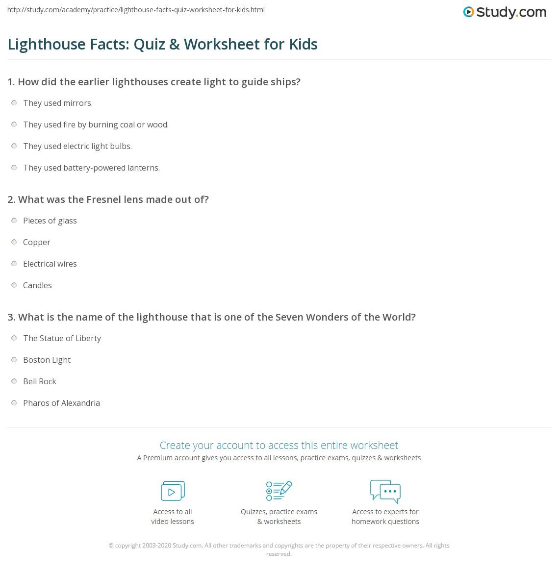 Lighthouse Facts Quiz Amp Worksheet For Kids