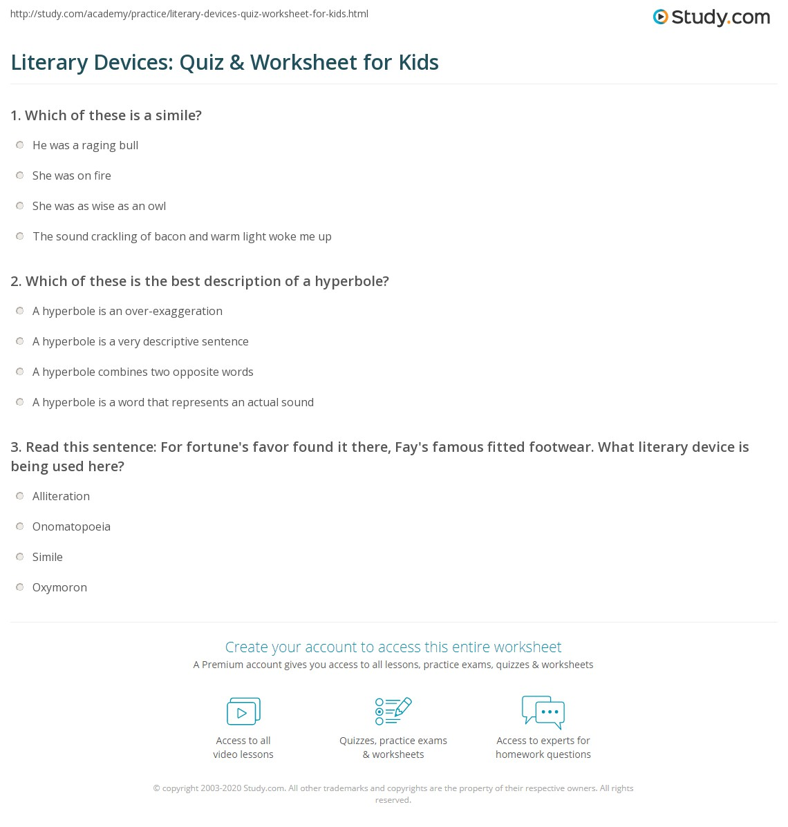 Literary Devices Quiz Amp Worksheet For Kids
