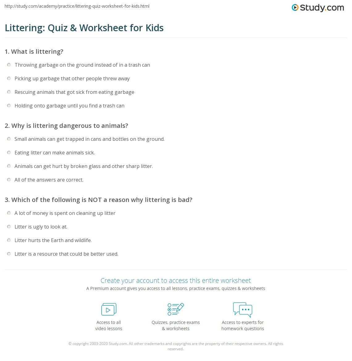 Littering Quiz Amp Worksheet For Kids