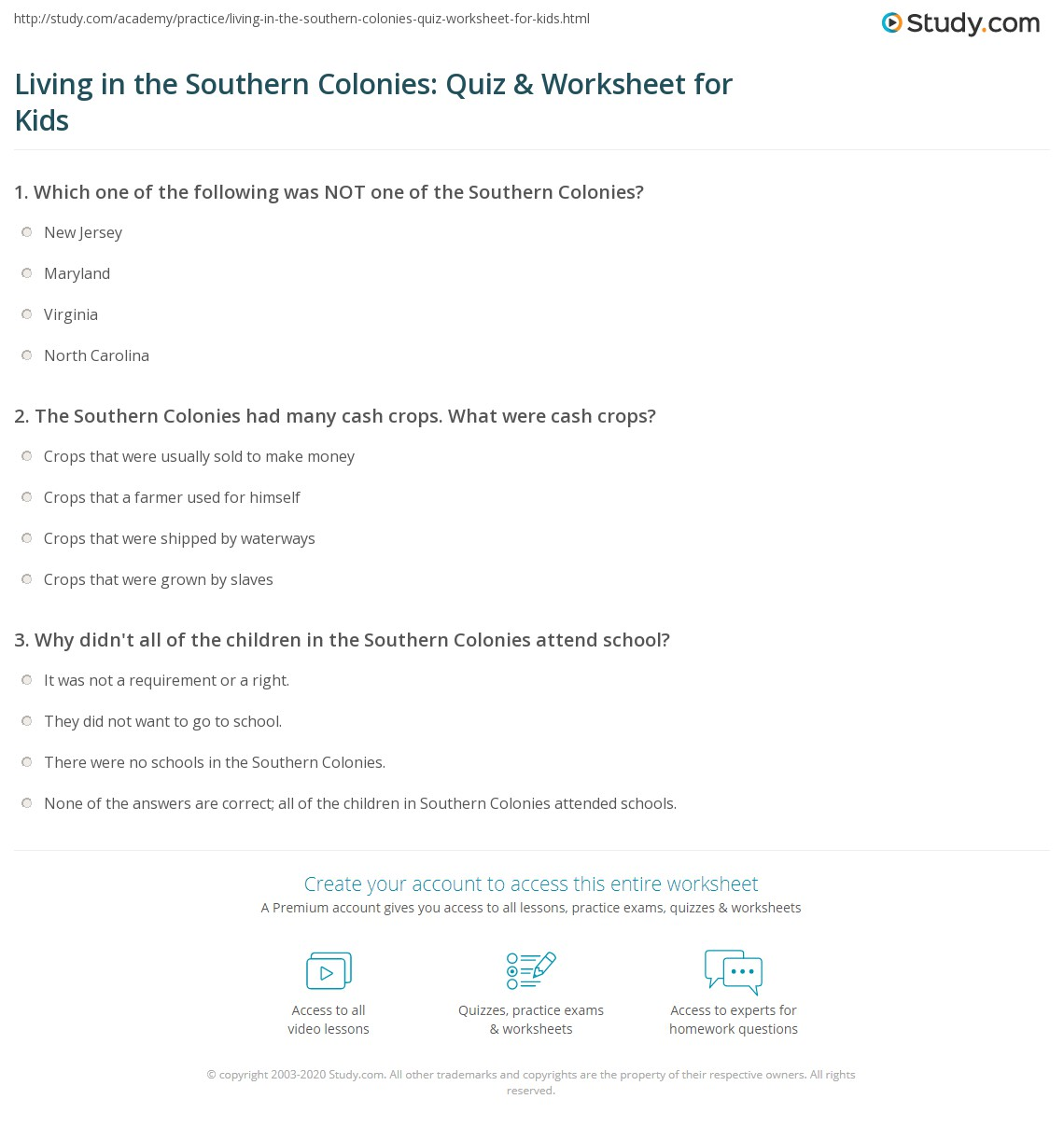 Living In The Southern Colonies Quiz Amp Worksheet For Kids