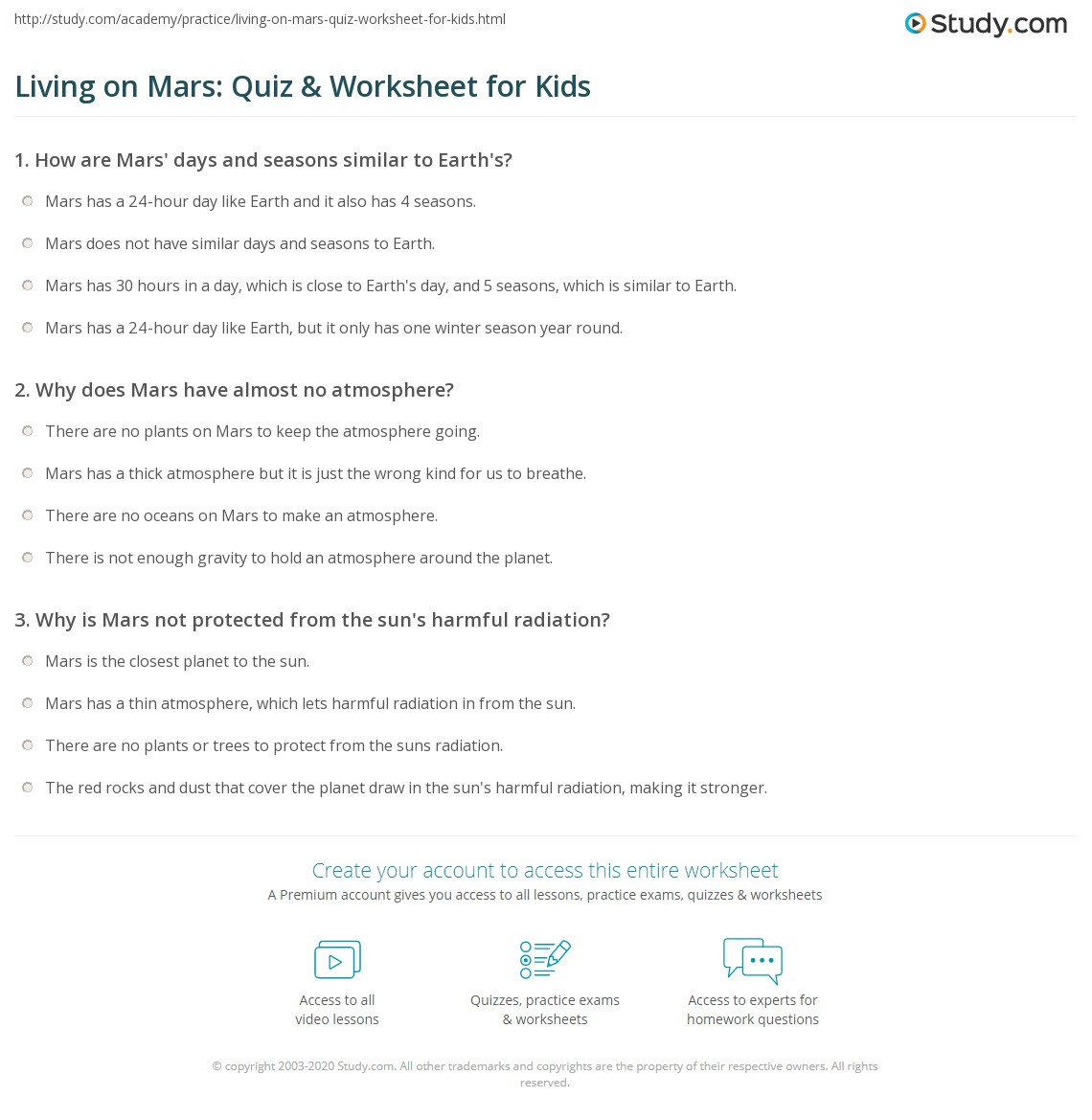 Living On Mars Quiz Amp Worksheet For Kids