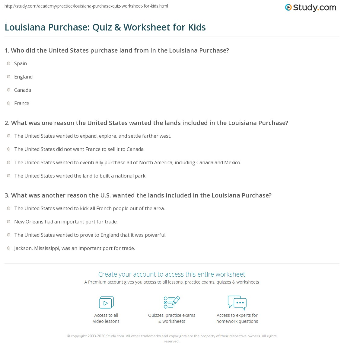 Louisiana Purchase Quiz Amp Worksheet For Kids